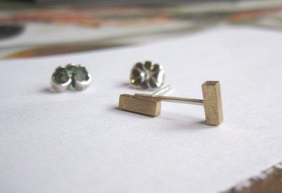 Handmade Square Bar Stud Earrings Will Accentuate Your Fashion Style!      In Copper, Brass or Sterling Silver - 0024 - Virginia Wynne Designs