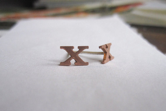 Unique and Distinctive Hand-Made Brass X Stud Earrings - 0097 - Virginia Wynne Designs