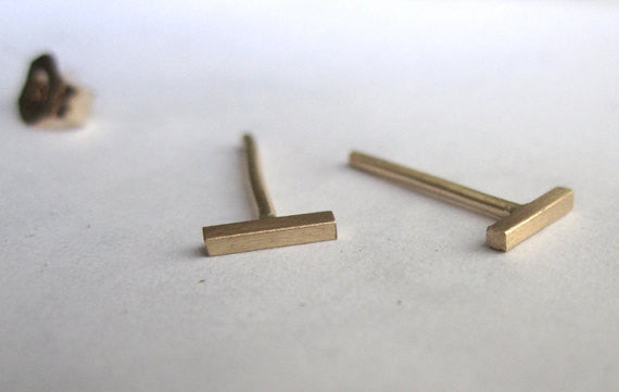 Distinctively Modern Hand-Made 14K Yellow Gold Line Stud Earrings - 0039 - Virginia Wynne Designs