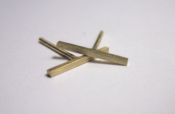 Contemporary and Stylish Yellow Gold Fill Staple Bar Stud Earrings - 0263 - Virginia Wynne Designs
