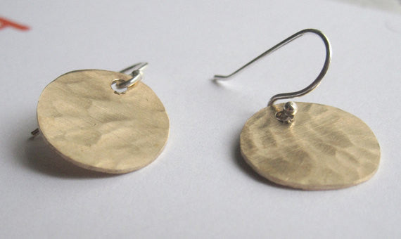 Hand-Made, Stylish, Hammered Textured, Gold Colored Brass Dangle Disk Earrings - 0065 - Virginia Wynne Designs