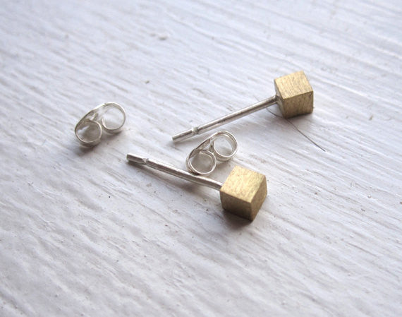 Contemporary, Hand-Made Mini Solid Cube Stud Earrings - 0012 - Virginia Wynne Designs