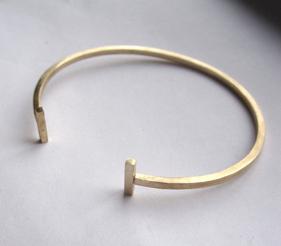 Classic Hand-Made Square Brass Adjustable Open Cuff Bracelet with Barbell Cuffs - 0041 - Virginia Wynne Designs