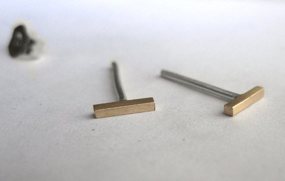 Mini, Hand-Made & Affordable, These Slim Styled Staple Bar Stud Earrings - 0006 - Virginia Wynne Designs