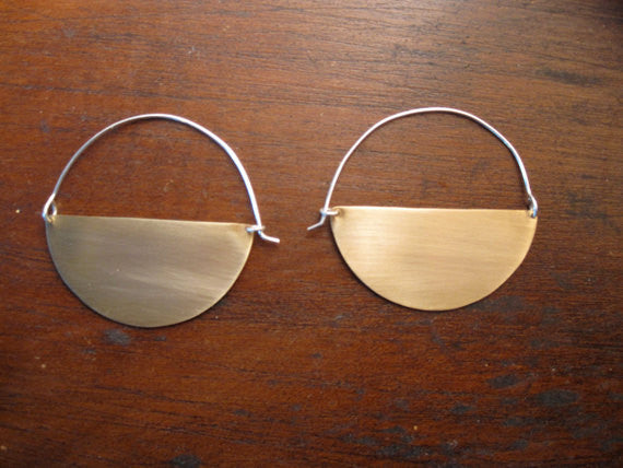 Hand-Made and Stylish - Half-Circle Crecent Hoop Earring - 0081 - Virginia Wynne Designs