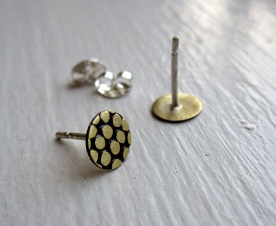 Stylish and Unique - Hand-Made, Flat, Pebble Textured Brass Circle Stud Earrings - 0002 - Virginia Wynne Designs