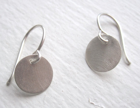 Stylish Hand-Made Disk Circle Drop Dangle Earrings - 0051 - Virginia Wynne Designs
