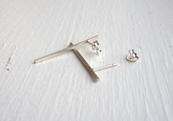 Well Designed and Smart, Hand-Crafted Skinny Square Bar Stud Earrings - 0025 - Virginia Wynne Designs