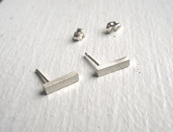 Smart & Affordable Hand-Made Square or Round Bar Earrings With The Post At One End - 0043 - Virginia Wynne Designs