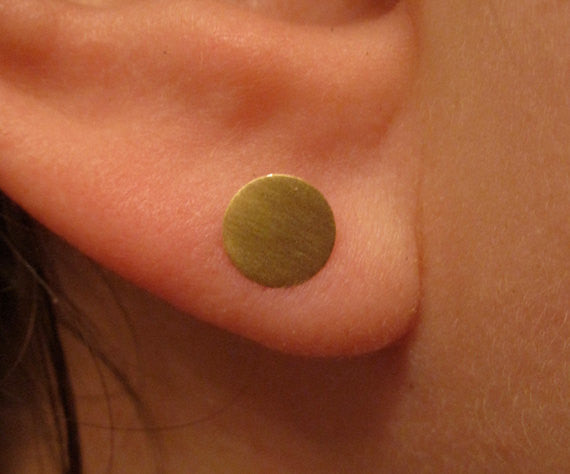 Hand-Made Set of Three Pairs of Round Brass, Dot Disk Earrings in 6mm, 5mm and 3mm -  0022 - Virginia Wynne Designs