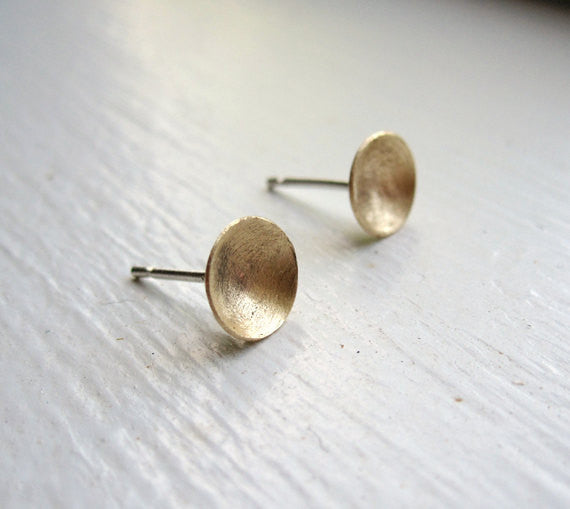 Distinctive Hand-Made Gold-Brass Concave Dome Stud Earrings - 0111 - Virginia Wynne Designs