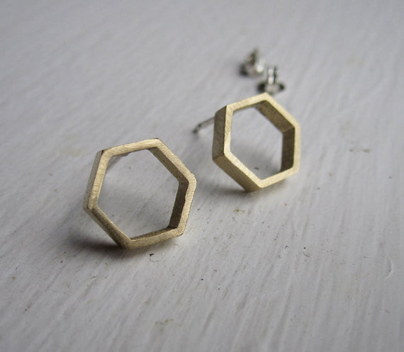 Hand-Crafted, Open Hexagonal Honey Comb Stud Earrings in Brass - 0114 - Virginia Wynne Designs