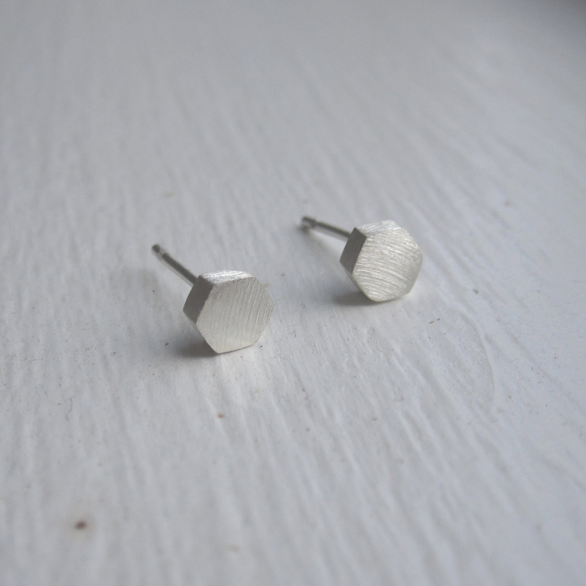 Hand-Crafted Solid Small Hexagon Stud Earrings - 0104 - Virginia Wynne Designs