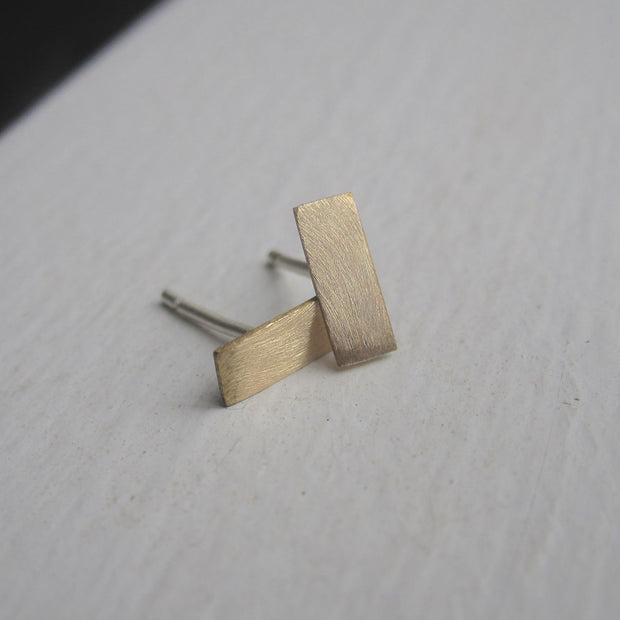 Short Flat Teeny Tiny Skinny Brass Thin Rectangle Bar Stud Earrings - 0119 - Virginia Wynne Designs