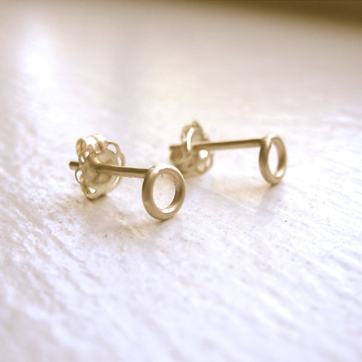 Delicate And Distinctive Hand-Made Open Circle Stud Earrings - 0126 - Virginia Wynne Designs