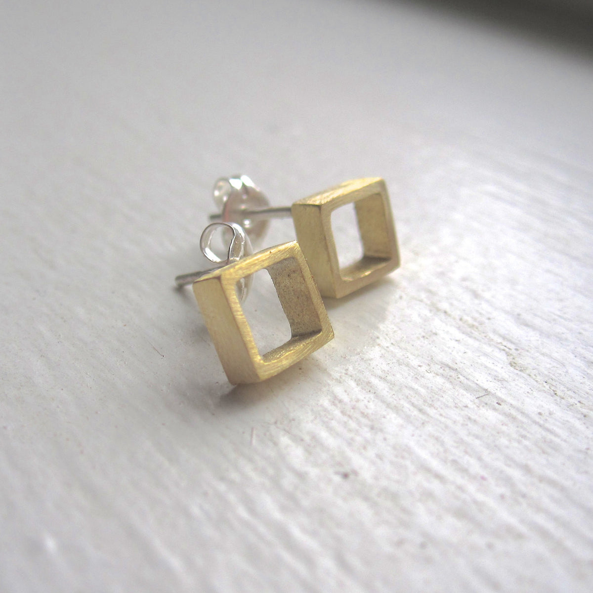 Open Hand-Made Square Cube Stud Earrings in Gold Colored Brass - 0124 - Virginia Wynne Designs