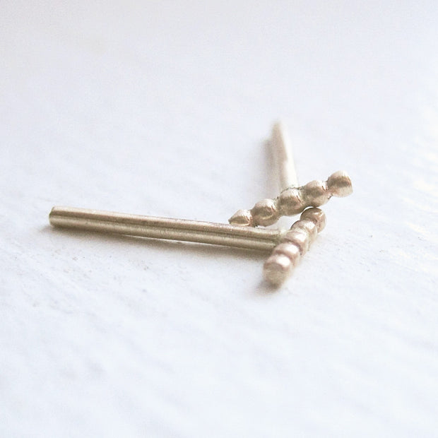 Smart and Distinctive - Hand-Made 14K Gold Beaded Stud Earrings - 0040 - Virginia Wynne Designs