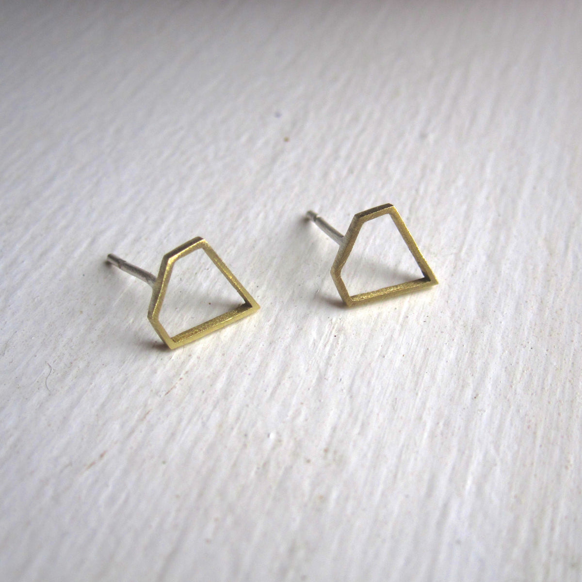 Hand-Made, Diamond Shaped, Outline Stud Earrings in Brass - 0172 - Virginia Wynne Designs