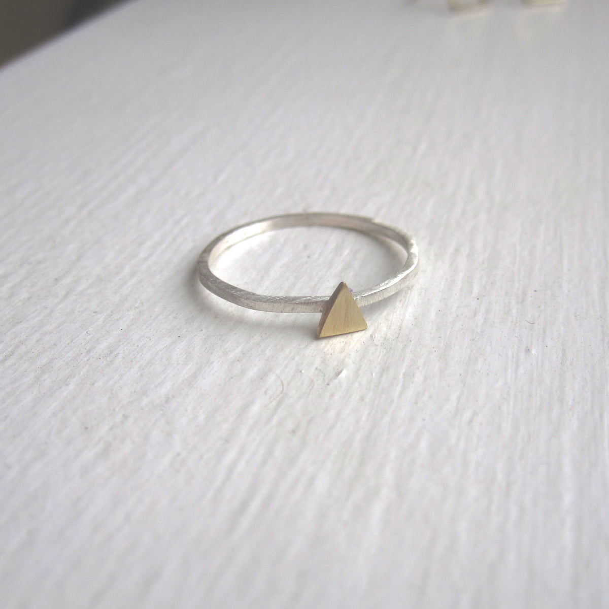 Distinctively Stylish, Hand-Made, Square Cut Stacking Ring With A Delicate Centered Triangle - 0131 - Virginia Wynne Designs