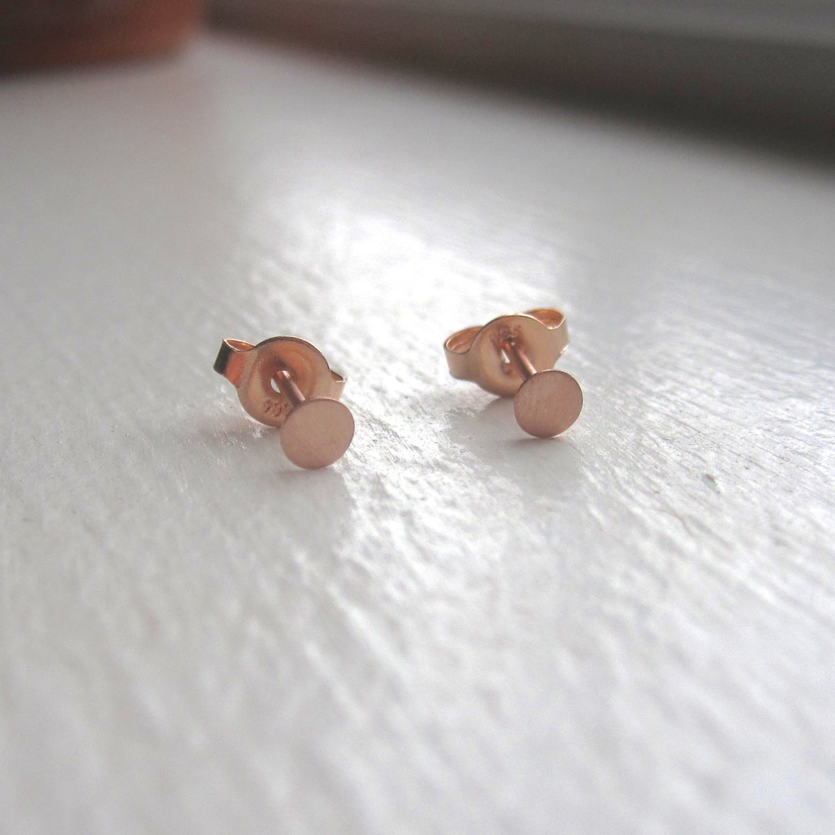 Hand-Crafted Elegance With These Solid 14k Rose Gold Studs - 0132 - Virginia Wynne Designs
