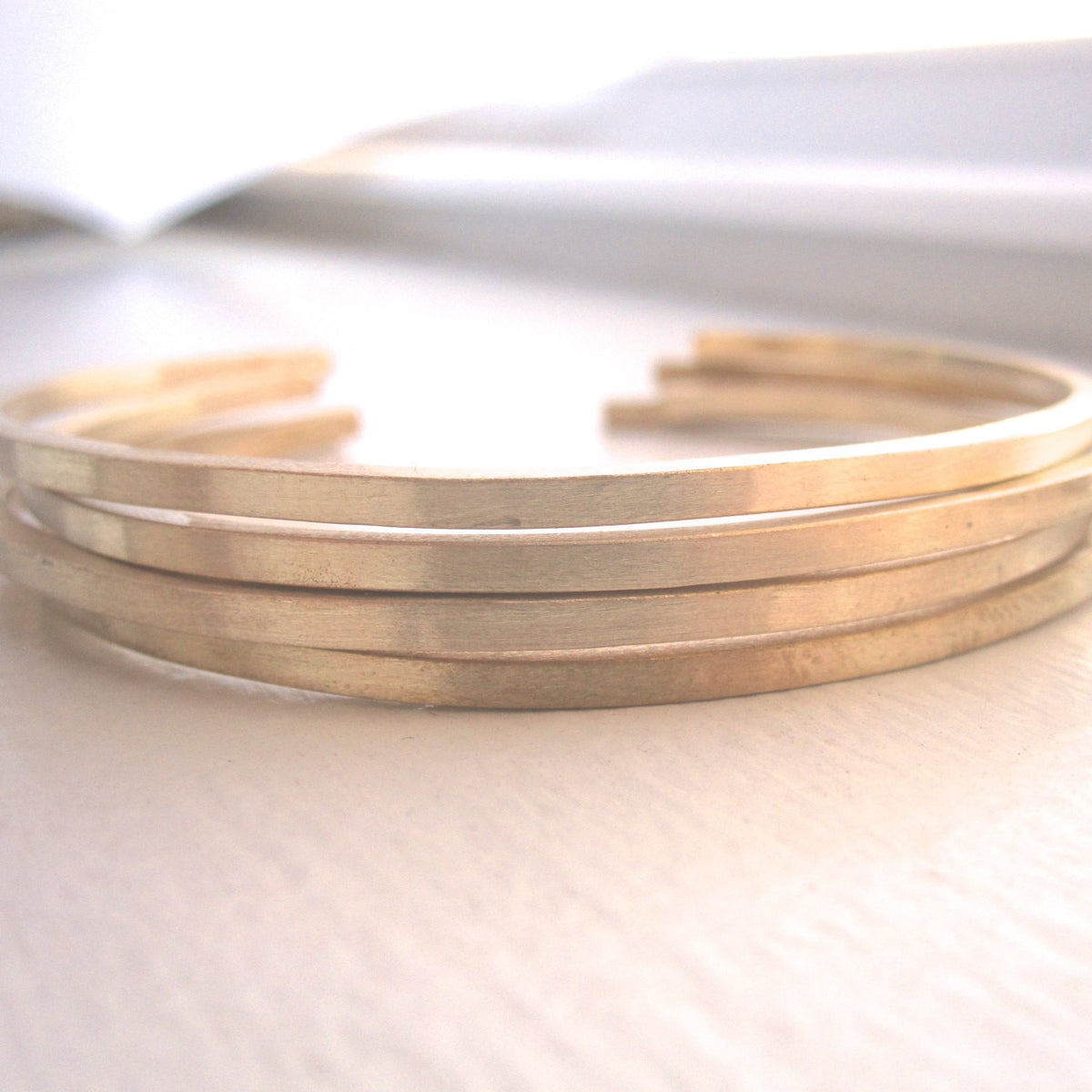 Set of 4 Brass Hand-Made Adjustable Square Cuff Bangle Bracelets With Rounded Ends - 0133 - Virginia Wynne Designs