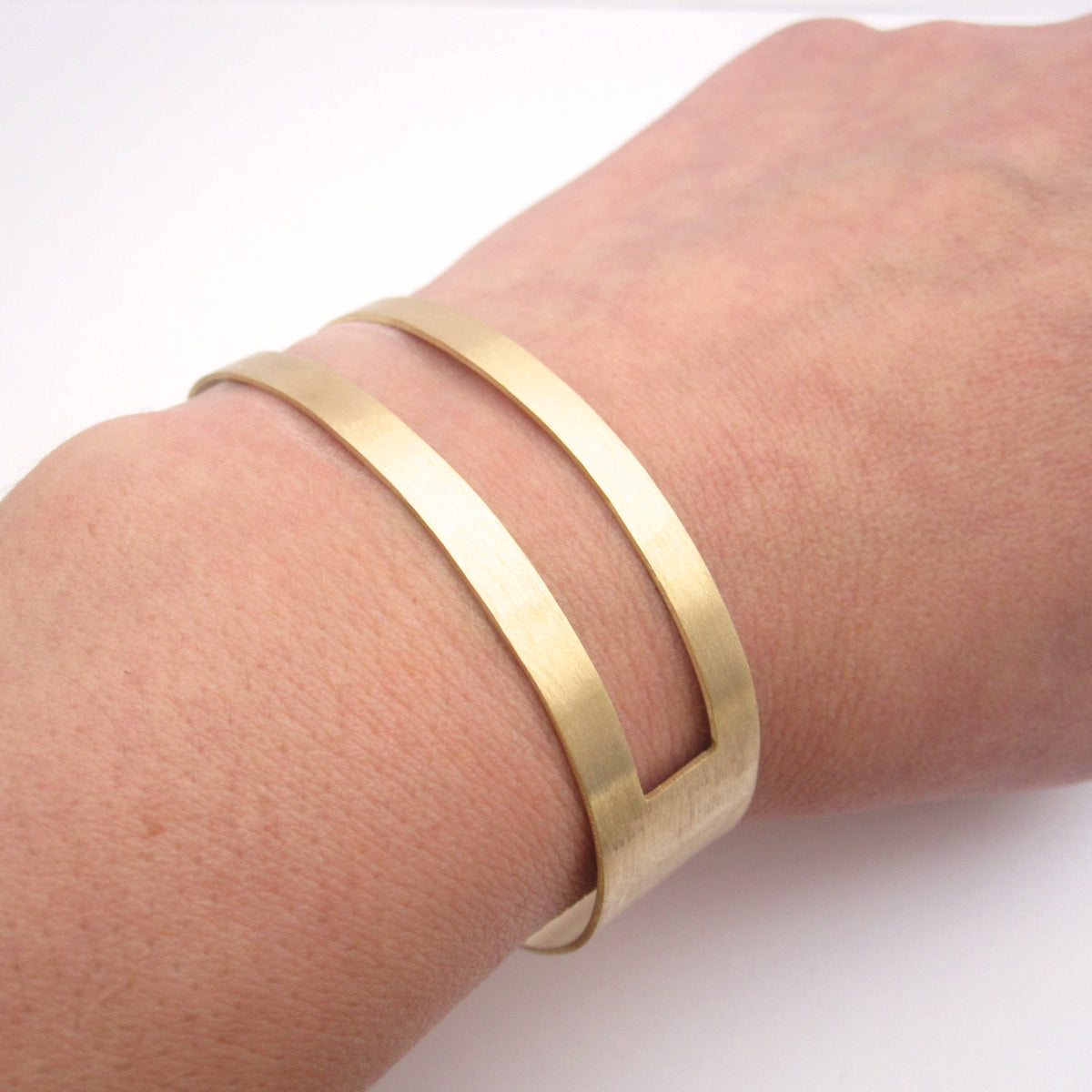 Chic Gold Tone, Brass Square Open Cut Cuff Hand-Made Bracelet - 0185 - Virginia Wynne Designs