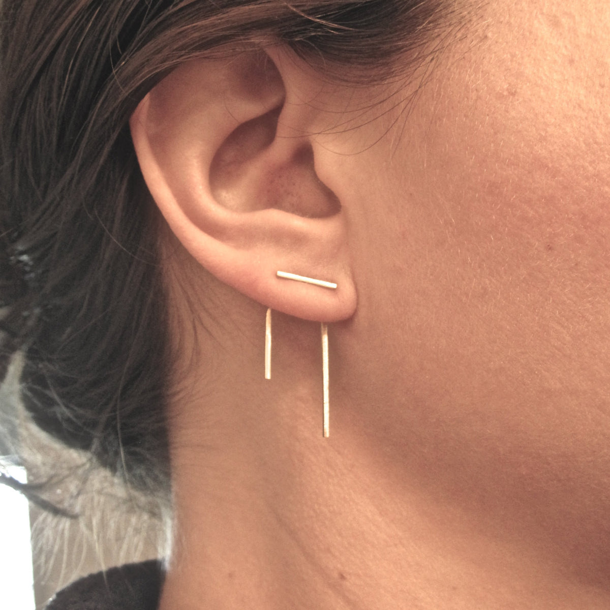 Distinctive Boho Hand-Made Styling - Staple Line Ear Jacket Stud Earrings As Seen On BuzzFeed - 0144 - Virginia Wynne Designs