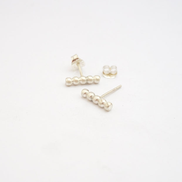 Contemporary Elegance With These Hand-Made Sterling Silver Beaded Long Straight Stud Earrings - 0127 - Virginia Wynne Designs