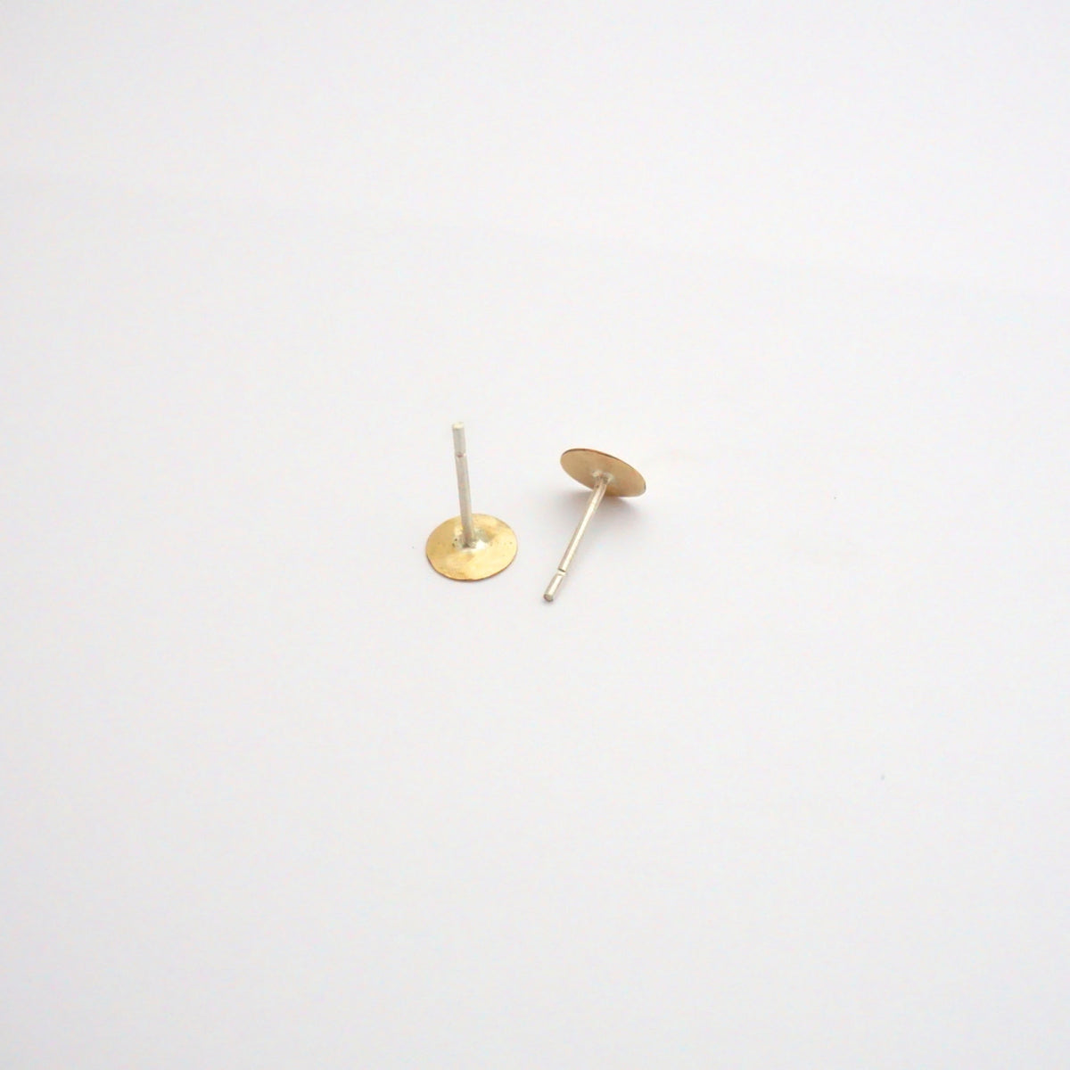 Contemporary Styled, Hand-Made Flat Circular Gold Colored Brass Studs - 0121 - Virginia Wynne Designs