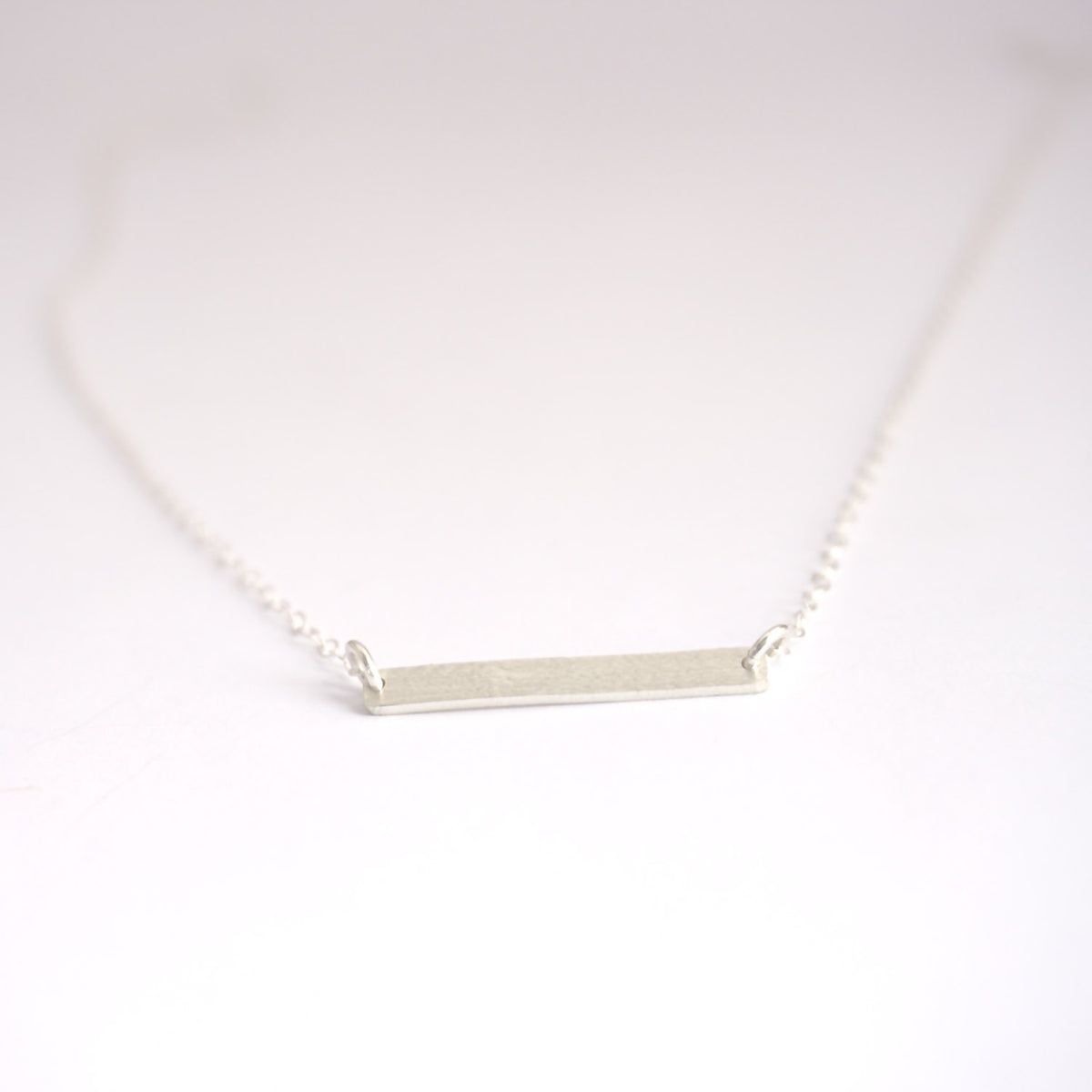 Hand-Made Modern Styled Sterling Silver or Brass Flat Bar W/ Sterling Silver Chain Necklace - 0137 - Virginia Wynne Designs
