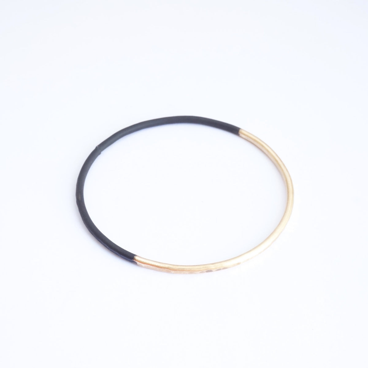 Hand-Made Two-Tone Gold Colored Hammered & Dipped Brass Bracelet Half Gold Tone & Half Black - 0145 - Virginia Wynne Designs