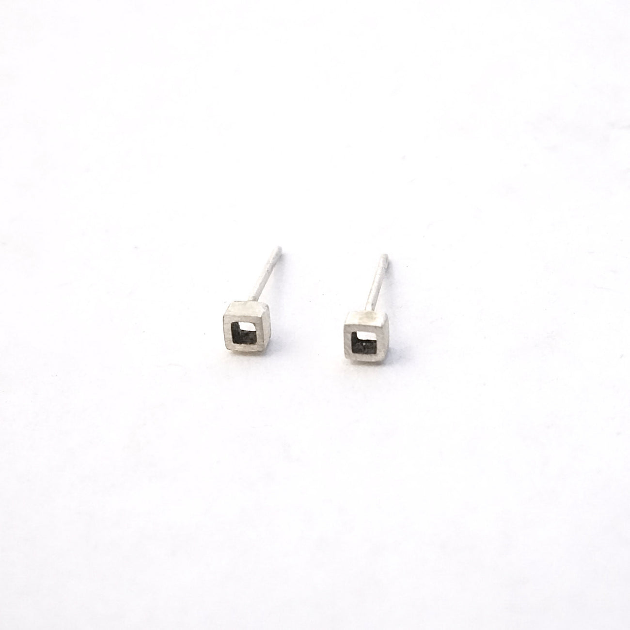 Contemporary Hand-Crafted Open Square Stud Earrings - 0160 - Virginia Wynne Designs