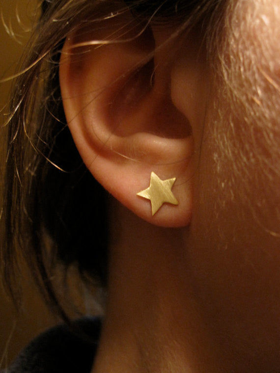 Chic and Smart Hand-Crafted Solid  Moon & Star Stud Earrings - 0164 - Virginia Wynne Designs