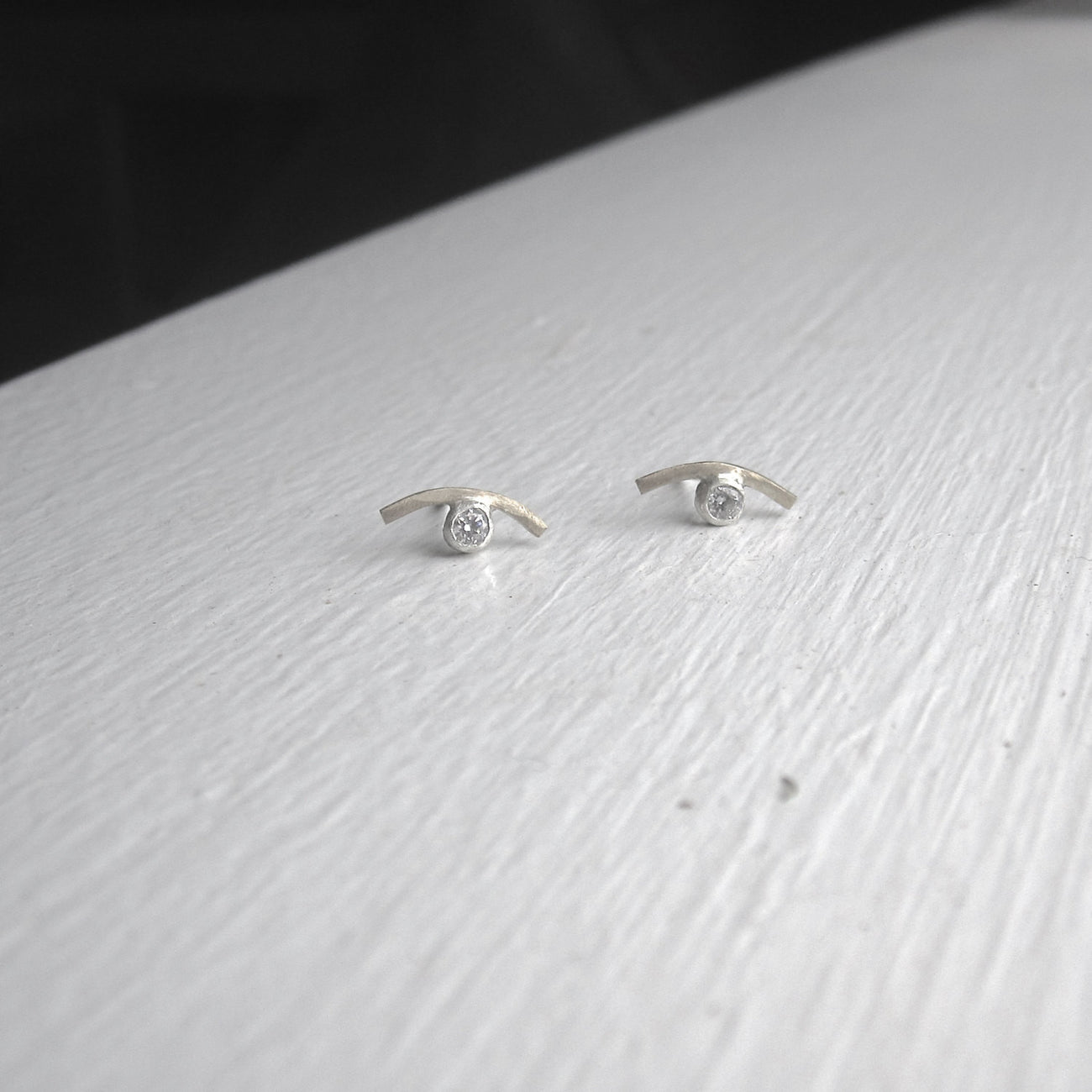 A Modern Classic - Hand-Made Sterling Silver Curved Studs With A Clear Stone - 0161 - Virginia Wynne Designs