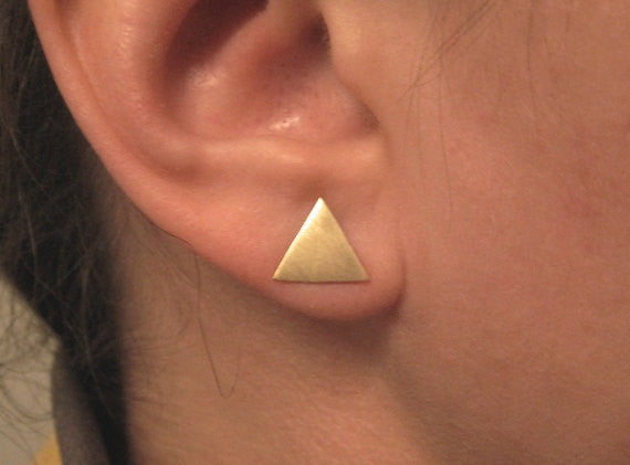 Hand-Made, Creatively Mismatched, Geometric Stud Earring Set in Brass or Sterling Silver - 0120 - Virginia Wynne Designs
