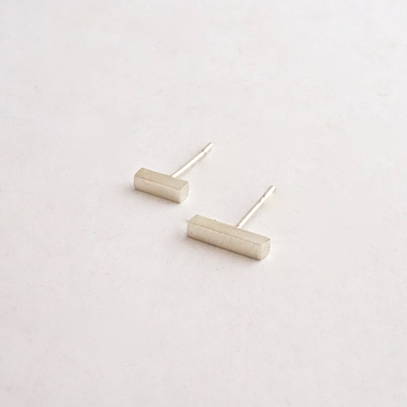 "Distinctive Affordable Hand-Made Thick Bar Stud Earring Set One Pair 3/8"" And One Pair 1/4"" - 0166 - Virginia Wynne Designs"