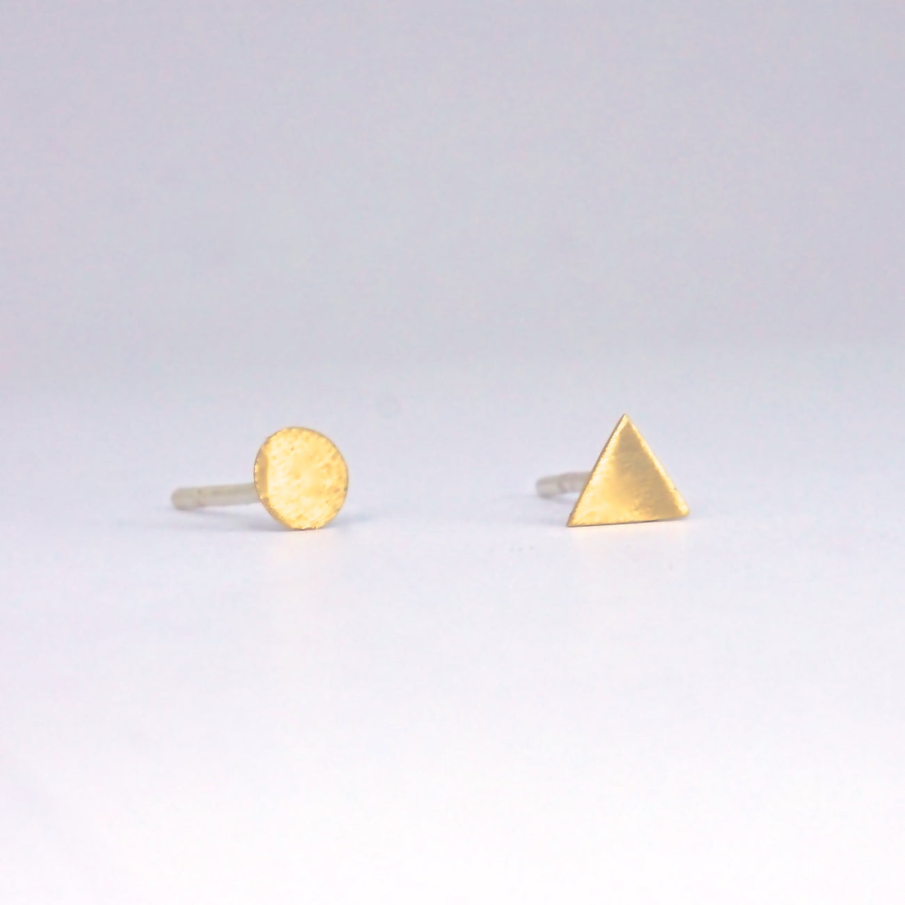 Creatively Mismatched, Hand-Crafted 4mm Circle & 4mm Triangle Stud Earrings - 0149 - Virginia Wynne Designs