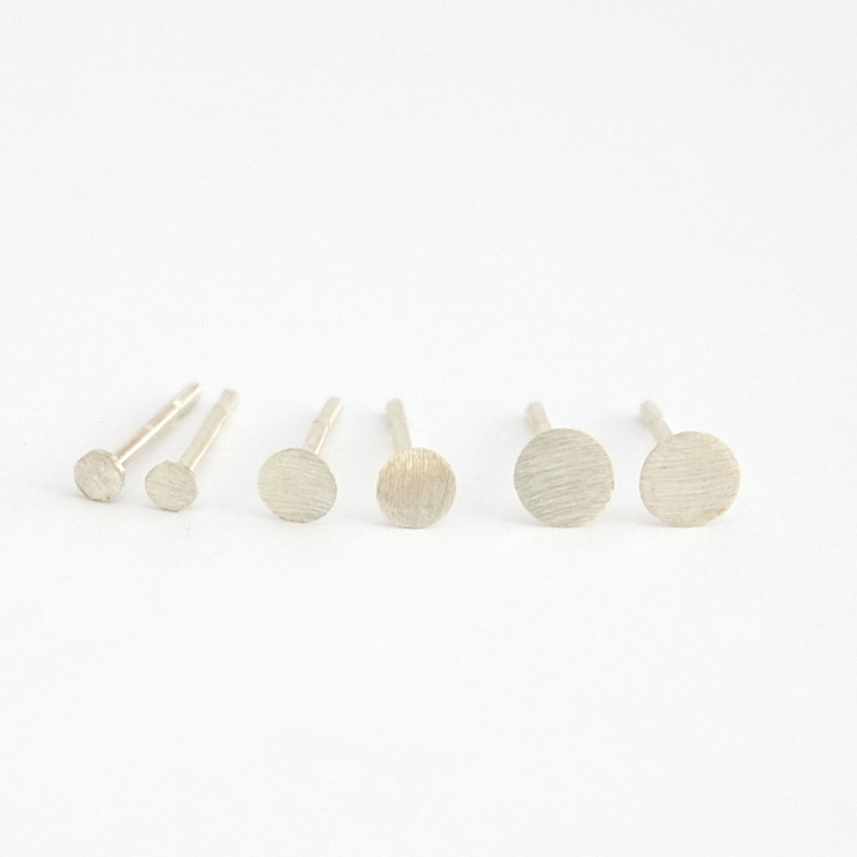 Distinctively Styled Hand-Crafted Flat Circle Stud Earring Set in 2mm, 3mm, & 4mm - 0157 - Virginia Wynne Designs