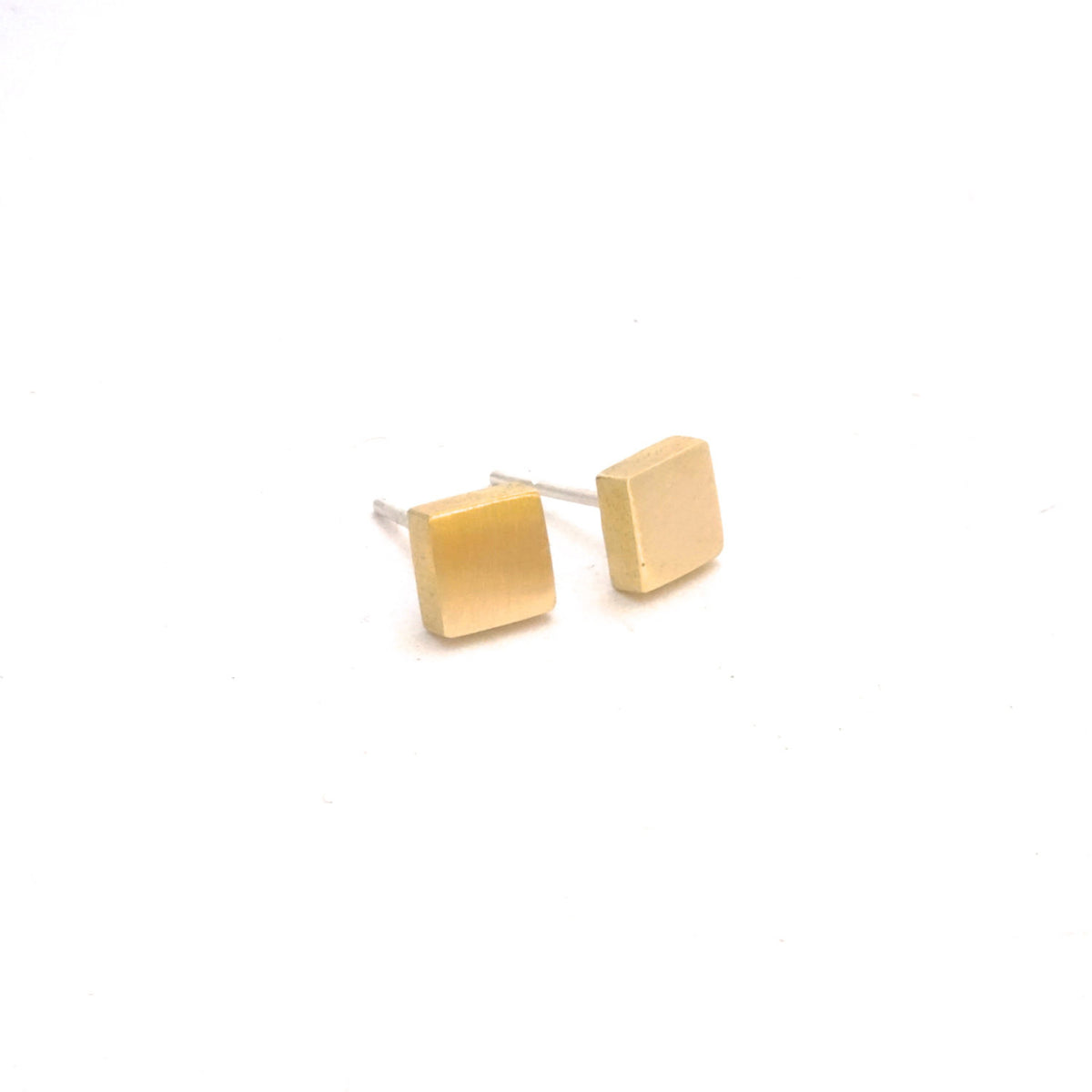 Affordable Hand-Crafted Gold Colored Brass or Sterling Silver Square Stud Earrings - 0170 - Virginia Wynne Designs