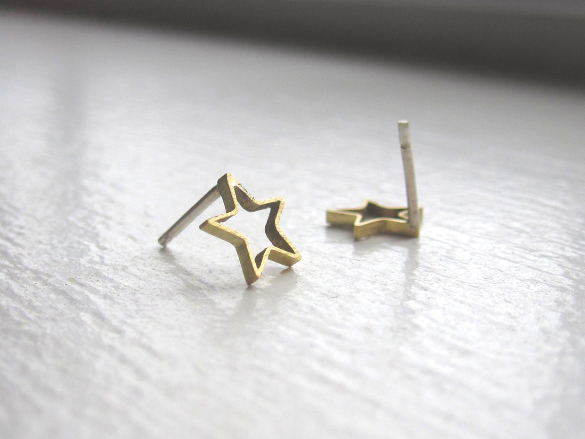 Beautiful and Chic Gold Colored Hand-Made Brass Open Star Studs - 0187 - Virginia Wynne Designs