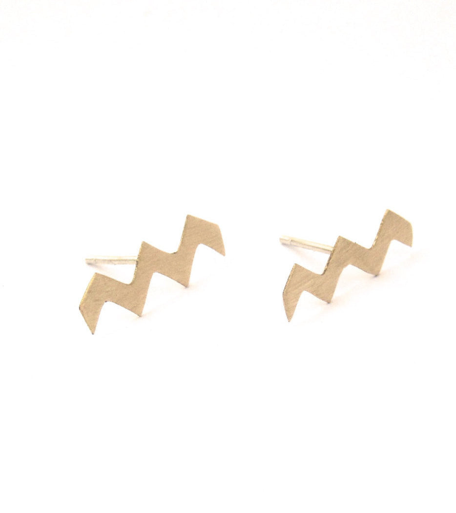 Distinctive and Stylish, Hand-Made, Zig Zag Chevron Ear Studs - 0143 - Virginia Wynne Designs