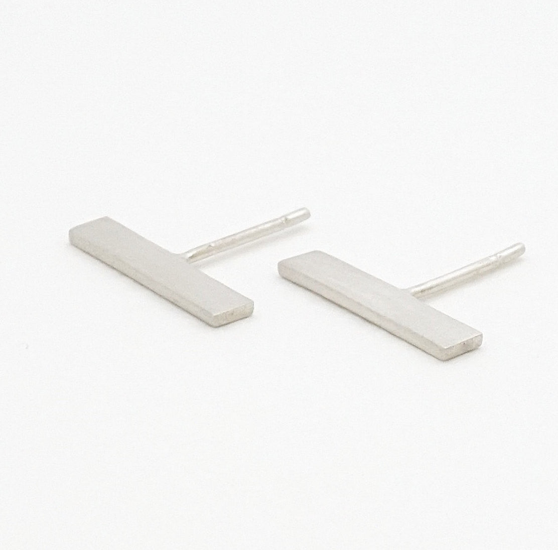 True Stand-outs - Hand-Made Flat Rectangular Bar Stud Earrings, in Two Sizes of Brass or Sterling Silver - 0184 - Virginia Wynne Designs