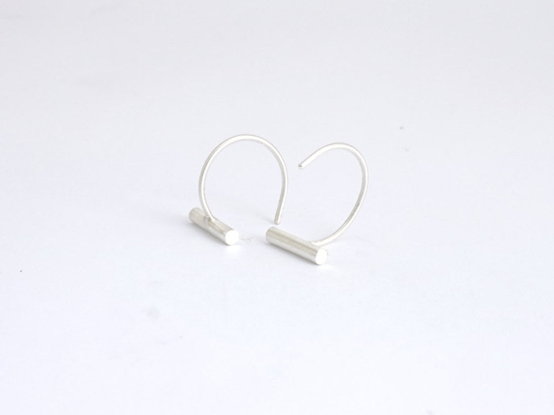 Chic Modern Hand-Crafted Bar Ear Hugging Hoops - 0140 - Virginia Wynne Designs