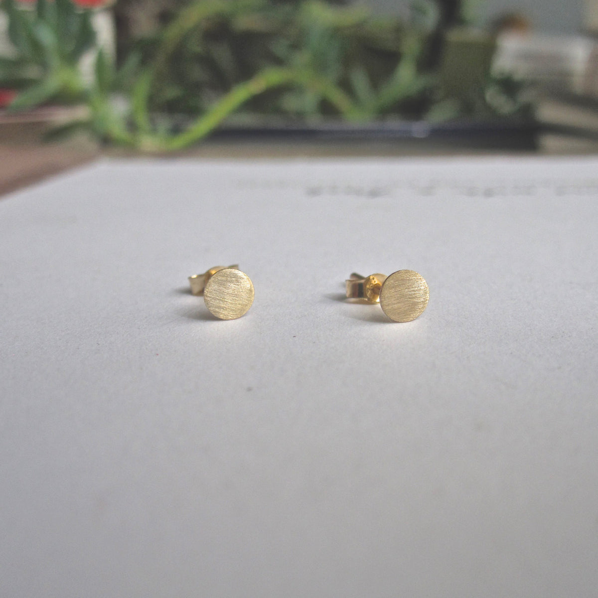 Tasteful and Classic - Hand-Made Solid 18k Gold Circle Studs - 0247 - Virginia Wynne Designs