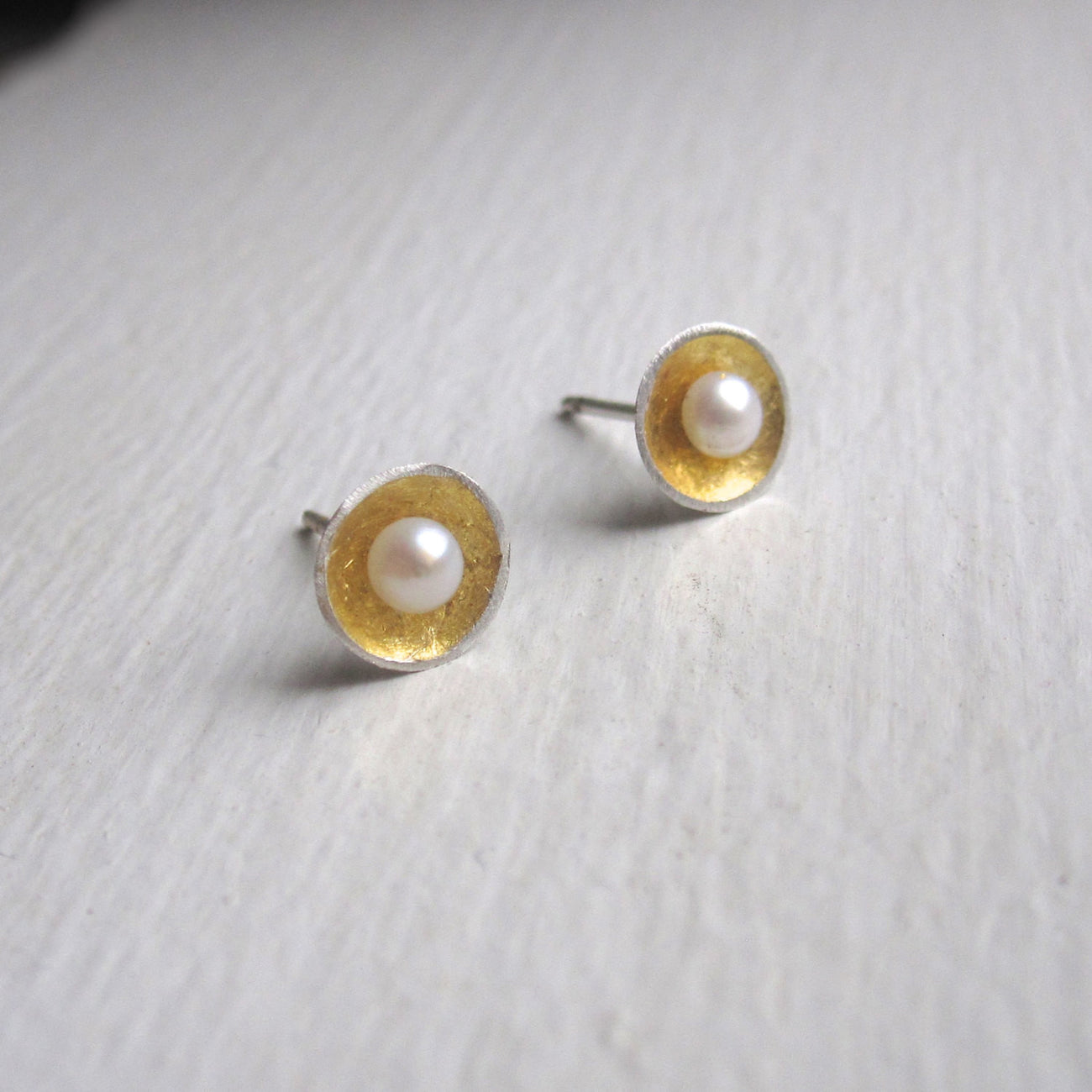 Contemporary Classic Pearl Earring Hand-Made Dome Circle Earrings w/ White Pearl Center - 0110 - Virginia Wynne Designs