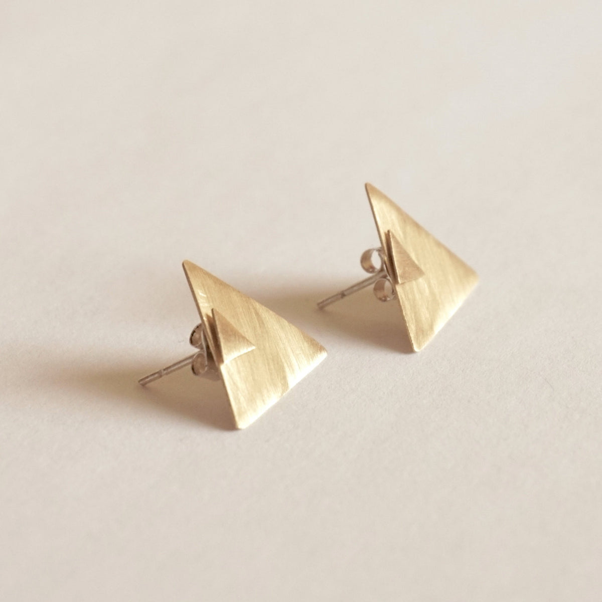 Minimalist Perfection Triangle Shaped Ear Jacket Earrings - 0191 - Virginia Wynne Designs