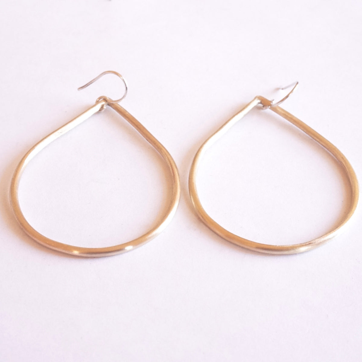 Timeless and Tasteful - Large, Open, Gold Colored Brass, Tear Drop, Dangle Earrings - 0101 - Virginia Wynne Designs