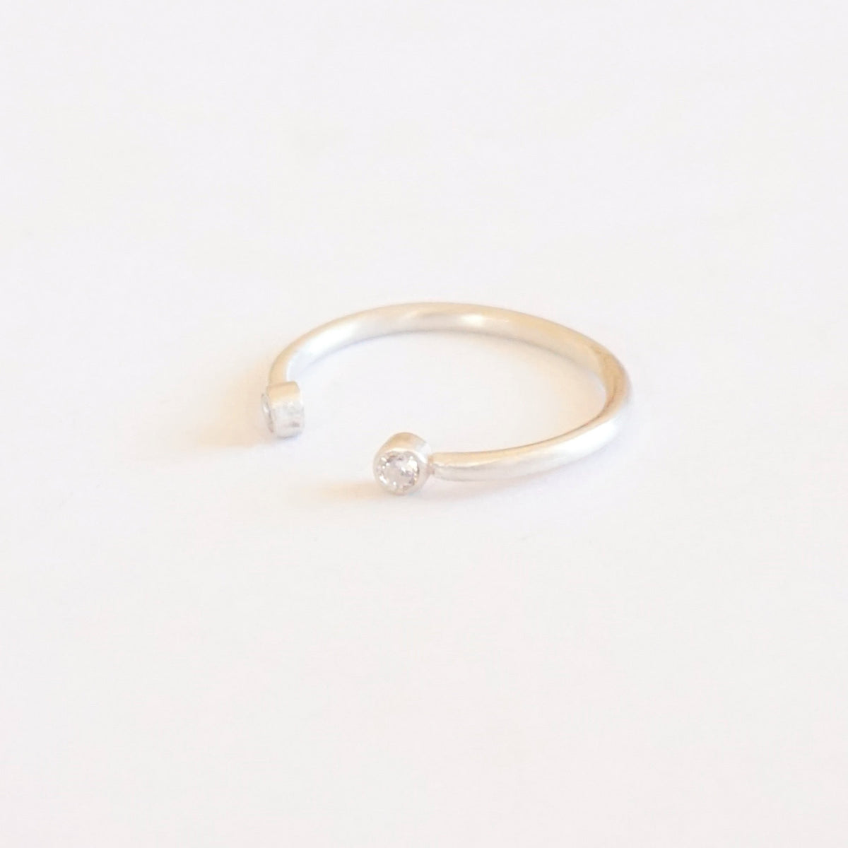 Diastinctively Styled Hand-Made Solid  Open Adjustable Ring With Two Bezel Set Clear CZ's - 0194 - Virginia Wynne Designs