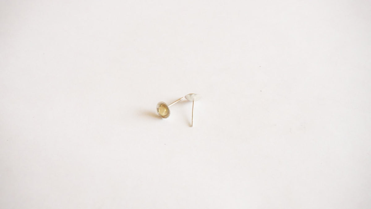 Stylish Hand-Made Silver Stud Earrings with a Solid Mini Brass Button in the Center - 0196 - Virginia Wynne Designs