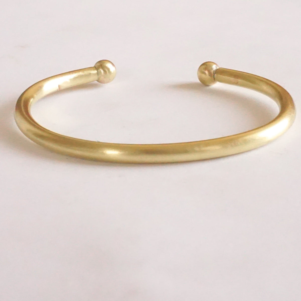 Classic Hand-Made Gold Colored Brass or Sterling Silver Torque Bracelet w/ Solid Ball Ends - 0198 - Virginia Wynne Designs
